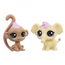 Figures Hasbro Littlest Pet Shop Frosting Frenzy BFFs Macaron Elefen and Cocolina Monkley E0399