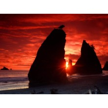 Sea Stacks Knife a Blood Red Sky Wallpapers - Photography for Download